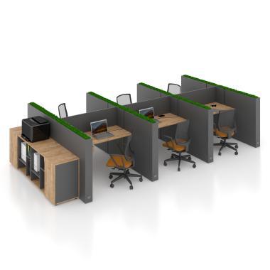 Офісний стіл на 6 осіб з перегородкою Co_d 35-13