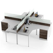 Офісний білий комп'ютерний стіл на 4 людини Promo T9